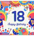 eighteen 18 year birthday greeting card number vector image
