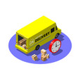 express delivery service concept with yellow van vector image vector image