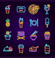 fast food menu neon icons vector image vector image