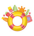 float lifeguard with summer icons around vector image
