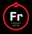 Francium chemical element vector image vector image