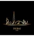 Gold silhouette of Dubai on black background vector image vector image