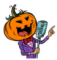 halloween pumpkin character singer isolate on vector image