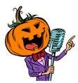 halloween pumpkin character singer isolate vector image