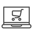 laptop with cart line icon online shopping vector image vector image