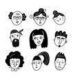 male and female different funny faces hand drawn vector image