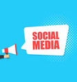 male hand holding megaphone with social media vector image
