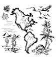 map north and south america vector image vector image