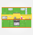 Modern kitchen wall interior vector image