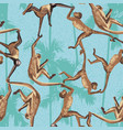 monkey jungle seamless pattern vector image vector image