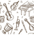 musical instruments pattern background vector image