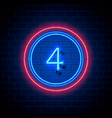 neon city font sign number 4 vector image vector image