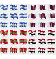 Nicaragua Qatar Transnistria Egypt Set of 36 flags vector image