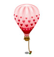 pink balloon with hearts tied to the ground vector image vector image