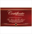 Red certificate template vector image vector image