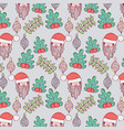 santa claus with garland and branches leaves vector image