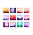 set beautiful flat cartoon landscapes vector image vector image