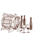 set of sketch wine icons vector image vector image