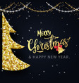 shining gold christmas tree and sparkling lights vector image