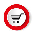 shopping cart red circle web glossy icon vector image vector image
