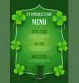 st patricks day menu design with top hat and vector image vector image