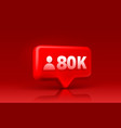 thank you followers peoples 80k online social vector image vector image