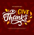 thanksgiving day sale banner template give thanks vector image