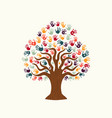 tree hand of diverse people team help vector image vector image