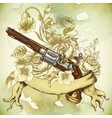 Vintage card with a gun and flowers vector image