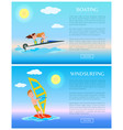 windsurfing and boating water sports vector image vector image