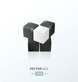 3D Cube Toy Game black and white vector image