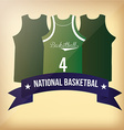 a set of basketball uniforms and a blue ribbon wit vector image