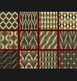 abstract geometric patterns with wavy lines set vector image