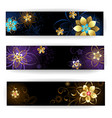 Banner with abstract flowers vector image