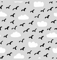 birds clouds pattern vector image