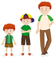 Boy growing up to man vector image vector image