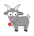 Cartoon Goat Eats Flower Symbol of 2015 Year vector image vector image