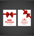 christmas card with red ribbon and greetings vector image vector image