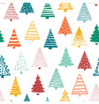 christmas doodle trees background seamless vector image vector image
