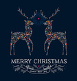 Christmas love reindeer vintage greeting card vector image vector image