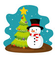 christmas pine tree and snowman with hat vector image vector image