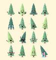 christmas tree character emoji set vector image vector image