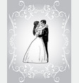 decorative card with happy newlyweds vector image