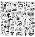 Drugs doodles set vector image vector image