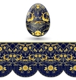 Easter egg painted Dark blue and gold seamless vector image vector image