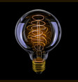 edison realistic antique glowing light bulb vector image
