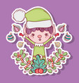 elf with balls and branches leaves decoration vector image vector image