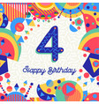four 4 year birthday party greeting card number vector image vector image