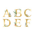golden glitter alphabet with watercolor vector image vector image