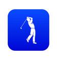 golf player icon digital blue vector image